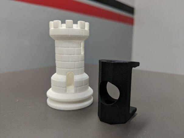 sls printed rook with MJF piece